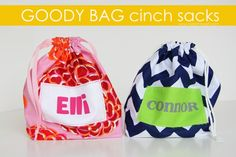Goody Bag Cinch Sacks...great for party favors (and to use up scrap fabric). www.makeit-loveit.com #diy #kids #totes
