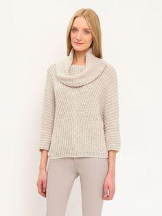 sweter golf długi rękaw damski   klasyczny, luźny beżowy - SSW1891 TOP SECRET