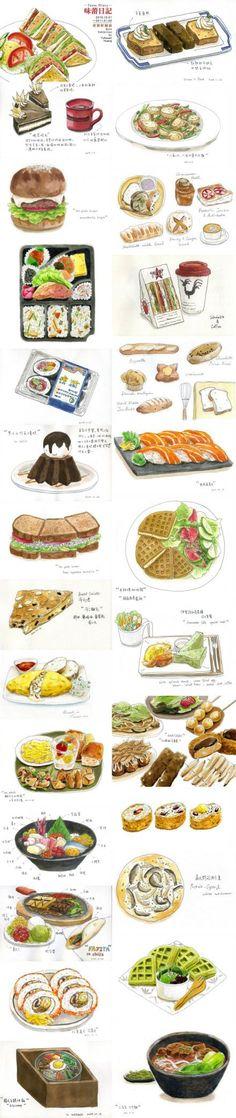Food illustration - artist study , How to Draw Food, Artist Study Resources for Art Students, CAPI ::: Create Art Portfolio Ideas at  , Inspiration for Art School Portfolio Work, Food, Drawing Food, Sketching, Painting, Art Journal, Journaling, illustration #school  #food #ideas #recipes