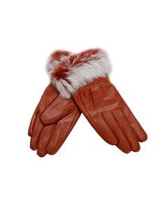 Rabbit Fur Cuffs Fleeced-lining Leather Gloves