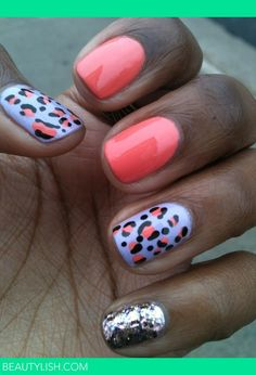 coral leopard and glitter THE MOST POPULAR NAILS AND POLISH #nails #polish #Manicure #stylish