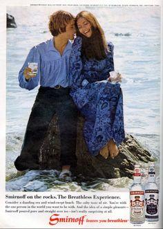 1971 Liquor Ad, Smirnoff Vodka, Girl & Guy Sitting on Rock at the Beach Smirnoff, Cosmopolitan, The Rock, Liquor, Vodka, The Past, Guys, History, Beach