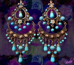 Large Exotic Boho Gypsy Chandelier Earrings Turquoise by kerala