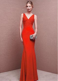 38d3366d1b2 Chic Chiffon V-neck Neckline Mermaid Evening Dresses With Lace Appliques  Кружевное Платье