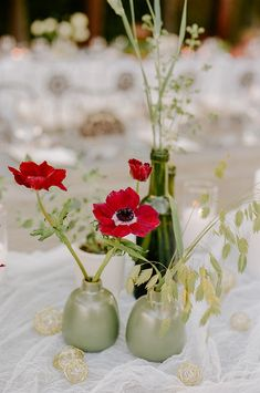 cluster of bud vases at wedding, red anemone wedding ideas Anemone Wedding, Wedding Vases, Red Wedding, Garden Wedding, Floral Wedding, Floral Centerpieces, Red Anemone, Garden Venue