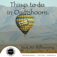 Things to do in Oudtshoorn. Sunrise over the Klein Karoo is beautiful. Even more so if you're in a balloon. Sa Tourism, Things To Do, Old Things, Countries Of The World, Hot Air Balloon, South Africa, Sunrise, Holidays, Activities