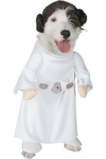 Let your dog become a part of the Star Wars universe by dressing her up in this Princess Leia Pet Costume! She'll fit right in at any Star Wars themed party, whether it be Halloween or not. For ultimate cutness, grab a few of her friends and dress th. Diy Dog Costumes, Pet Halloween Costumes, Halloween Snacks, Halloween Cupcakes, Dog Halloween, Vintage Halloween, 1950s Costumes, Animal Costumes, Family Halloween