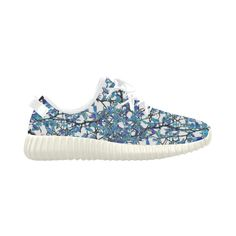So unique and lovely! Modern Nouveau Pattern Grus Women's Breathable Woven Running Shoes (Model 022) #sneakers #blue
