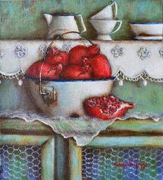 Valencia van Zyl South African Art, House Quilts, Art World, Pomegranate, Valencia, Still Life, Folk Art, Decorative Bowls, Country