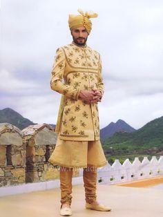 Golden Color Wedding Indo Western #rajwadi #designer #exclusive #trendy #sherwani #wedding #collection #embroidered #2018Grooms