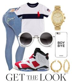 """Get the look"" by couture-channel ❤ liked on Polyvore featuring NIKE, Michael Kors, Bling Jewelry, GetTheLook and airportstyle"