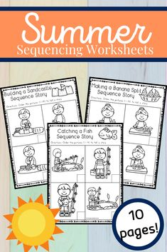 Free sequencing worksheets that are perfect for summer! Young learners will sequence and retell four-part summer stories. #summerworksheets #sequencingactivities #sequencingworksheets #homeschoolprek