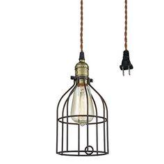 Truelite Industrial Vintage Style Mini Plugin Pendant Light Metal Bird Cage Edison Hanging Light with Toggle Switch