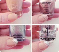 Nails | Flesh-toned Metallic Stripe Manicure | ...love Maegan