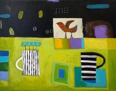"""""""Bird and Coffee"""" 24 x 30 mixed media by Nathaniel Mather"""