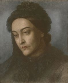 D. G. Rossetti - Portrait of Christina Rossetti, head and shoulders, turned three-quarters to the left, 1877