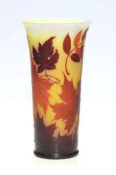 """Gallé vase, acid-etched, 8 1/2"""" tall."""