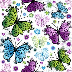 Floral butterflies seamless pattern vector set 01 - Vector Animal free download