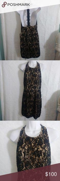 B1G1Free- NEW Jodi Kristopher T Back Lace Dress Brand: Jodi Kristopher Size: 3  Black lace over nude dress with T shaped back Lace strap. Low back. NWT. Jodi Kristopher Dresses