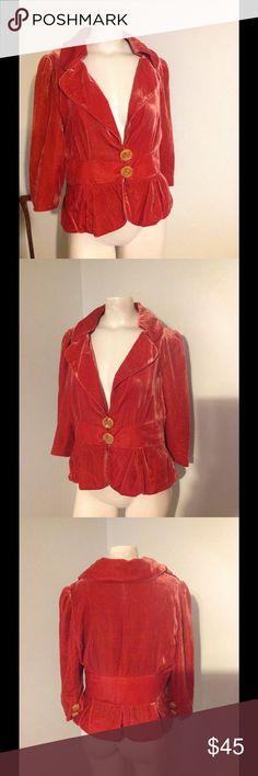 """Anthro Elevenses Orange Velvet Blazer Jacket SALE Gorgeous Elevenses blazer from Anthro. Orange velvet in size 12. Great piece! Chest 40"""" Waist 35"""" Length 22"""" Anthropologie Jackets & Coats Blazers"""