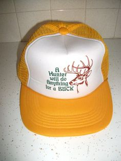 d9f4ab60476 1970s Trucker Novelty Hat Hunter Bucks Hunting Cap Yellow Mesh Snap Back  70s Retro Hipster Fashion Humor Unisex Mens Womens One Size