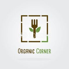Organic green fresh and clean food. Vector illustration flat logo design. Fork icon.