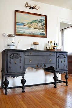 Antique Buffet Refinished In Annie Sloan Graphite Chalk Paint by marian
