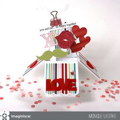 LOVE Box Card - Imaginisce - Scrapbook.com - Surprise open the box card with so many fun details!
