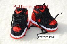 crochet jordans pattern   PDF crochet pattern only and not the finished ítem.  You will receive elaborated written PDF in ENGLISH for crocheting this original baby sneakers It's a step by step tutorial with more photos. clear instructions and blueprint. Instant download pattern, the link will be emailed to you once payment is received. If you need more information please read this Etsy article about how to download digital items after the payment: https://www.etsy.com/help/article/3949 If…