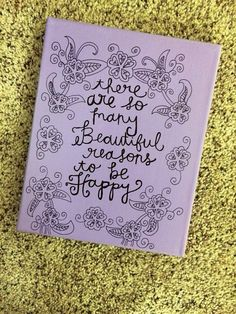 Hand painted canvas with quote by HansCanvs on Etsy