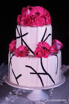 white and fuschia wedding cake