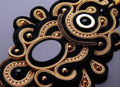 Soutache necklace Gold Haematite with Onyx .