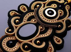 Soutache necklace Gold Haematite with Onyx .
