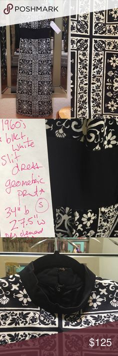"""1960s Geometric Slit Dress Black White Dress XS S 1960s Geometric Slit Dress Black White Dress XS S Entire dress on both sides is slits from the middle black part down! Best on a Small maybe XS 34"""" underarm 27.5"""" waist approximately Slight discolor info from age on collar Vintage Dresses"""