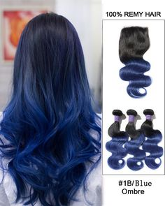 "New Arrival 10""-22"" Black Blue Ombre Body Wave Free Part Lace Closure With 3 Bundles #1B/Blue Virgin Hair For African American"