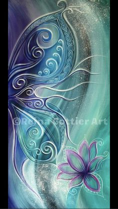 Butterfly Art Print featuring the painting Butterfly Wing With Lotus by Reina Cottier Lotus Kunst, Lotus Art, Butterfly Painting, Butterfly Wings, Lotus Painting, Maori Art, Fractal Art, Painting Inspiration, Art Pictures