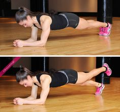 Here's the right form for doing a plank, plus a challenge. Pull in those abs!