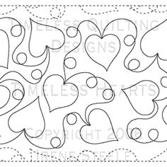 "Timeless Hearts - Paper - 12"" - Quilts Complete - Continuous Line Quilting Patterns"