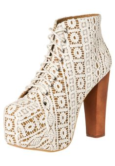 For Hayes. Jeffrey Campbell Lita-Mac Beige Lace Lace-Up Platform Booties Trendy Shoes, Cute Shoes, Me Too Shoes, Lace Booties, Lace Heels, Platform Boots, Jeffrey Campbell, Swagg, Heeled Boots