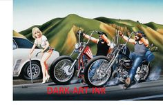David Mann Motorcycle Art | David Mann Art Motorcycle Poster Help, Flat Tire Print Easyriders In ...