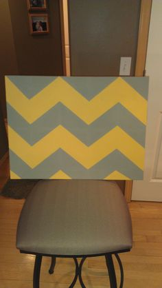 bought this old plain canvas at a second hand store and painted it French Linen with Arles chevron....going in my down stairs bathroom on light grey and white thick striped walls..... LOVE it!