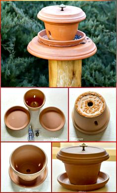 These fun and functional DIY birdfeeders are easily made out of the recycled materials lying dead or useless around you like the pallet wood, tree wood, broken or cracked crockery, bowls, wine glasses or anything. Make A Bird Feeder, Bird House Feeder, Homemade Bird Feeders, Landscaping Tools, Clay Pot Crafts, Diy Crafts, Bird Houses Diy, How To Attract Birds, Garden Crafts