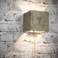 Combineer behang met baksteenprint met een stoere (wand)lamp van beton! Op die manier haal je een industriële look in huis #kwantum #stoerwonen #industrieel #beton #wandlamp #verlichting #behang