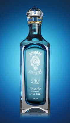 """Bombay Sapphire Limited Edition – a luxury packaging concept designed by Webb deVlam. It marks the anniversary next year of the discovery of the secret recipe upon which Bombay Sapphire gin is based. Alcohol Bottles, Liquor Bottles, Perfume Bottles, Cocktails, Alcoholic Drinks, Beverages, Vodka, Ginger Ale Gin, Champagne"