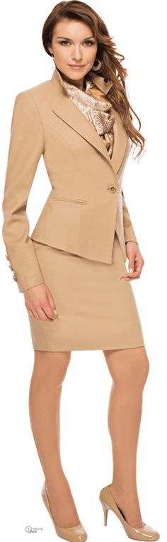 Tailored soft camel women's business suit. With skirt.