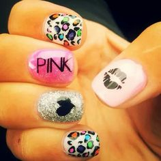Pink kiss leopard nails