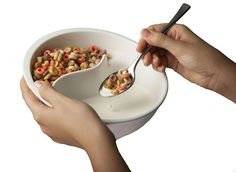 Split cereal bowl!! Keeps your cereal crisp and your milk normal!! Need to get one of these so I stop having to eat dry cereal with a glass of milk... :)