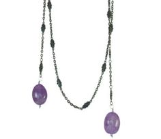 One of a Kind Amethyst Lariat Necklace. It can also be worn backwards.