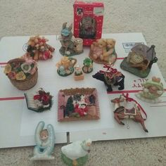 """Lot of collective figurines All what is on the picture is included House with clock 4""""tall Christmas bear and deer(brocken antler) 3.5tall Enesco letter D, letter Y(brocken wing) 3"""" Enesco Romeo & Juliet 3.5"""" 1994, Cherished Teddies Ruth and Gene 3"""" Basket flowers 3.5""""  Rabit Mervin's 1993 (brocken) Omnibus duck 3.5"""" Christmas memories bear in the box Christmas dog 2"""" Jesus with angels 1998 PMI approx 2"""" Santa and Christmas tree 4""""wide Other"""