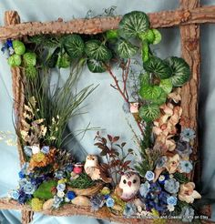 Owl Family Nesting Woodland Frame by CarmelasCreations on Etsy, -- this would be amazing as a faerie land